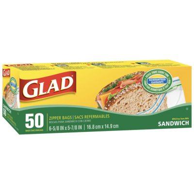 Glad sandwich zipper bag, 50ct